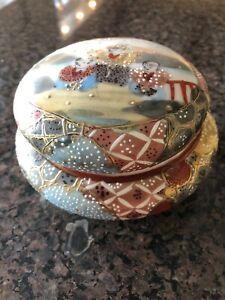 Royal Nippon Satsuma Style Covered Powder Jar Circa 1900 Heavy Moriage Marked