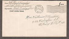 WWII cover Cpl William J Considine c/o Capt John D Abney Post HQ Camp Hood TX