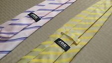 J.B. Ebrard, JBE Collection, Purple & Yellow Striped Ties (Lot of 2)- EXCELLENT