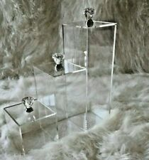 Acrylic Makeup Brush Organizer Storage with Crystal Diamond Knobs