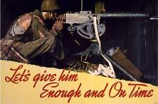 """Norman Rockwell print """"ENOUGH AND ON TIME"""" Soldier firing a Browning machine gun"""