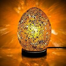 Fabulous Mini Mosaic Glass Crackle Yellow/Gold Egg Table Lamp ,Desk ,Bedside