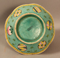 ANTIQUE CHINESE POLYCHROME EARTHENWARE LOW BOWL