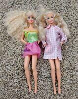 Lot Of 2 Vintage 1966 Barbie Dolls Blonde Hair Blue Eyes Mattel Crimped Hair