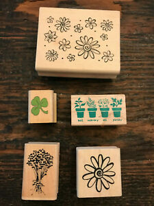 Lot of 5 Flower & Plant Rubber Stamps Hampton Art All Night Media Noteworthy