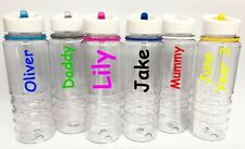 Personalised Custom Water Drink Bottle Colour Trim & Straw Name Gym Sport 800