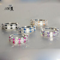 925 Silver Filled Multi Sapphire Birthstone Engagement Wedding Ring Size 5-12