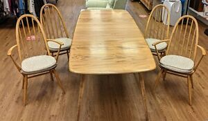Vintage Ercol Windsor Grand Plank Extending Dining Table & 4 Ercol Quaker Chairs