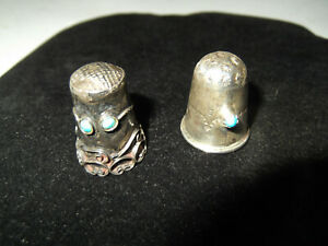 Vintage Sterling Silver Turquoise Navajo And Mexico Sewing Thimble Lot