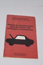 Original Vintage 1984 Oldsmobile Operator's Manual Supplement