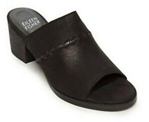 Eileen Fisher Women's Kale Black Nubuck Open Toe Mules Heels Sandals! Size 7.5