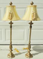 """Pair Tall 42"""" Ornate Gold Silver Candlestick Rope & Tassel Table Lamps w/ Shades"""