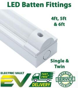 4ft 5ft 6ft LED Tube Fluorescent light Batten Fitting single double office