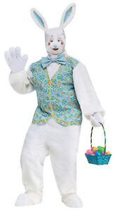 Plush Adult Bunny Costume Easter Rabbit Mascot White Vest Tie Full Hood One Size