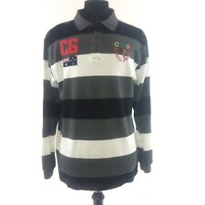 COOGI Long Sleeve Polo LARGE Australian Flag Kangaroo Logo Gray Black Striped