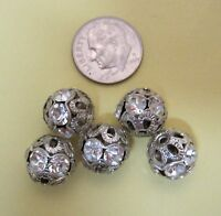 Lot of 5 Vintage Silver Metal Filigree & Rhinestone Studded 12MM FB-7