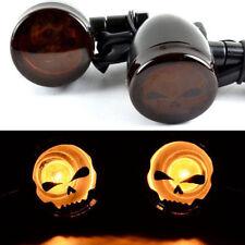 Pair Black Skull Lens Front Turn Signal Amber LED Lights For Motorcycle Harley