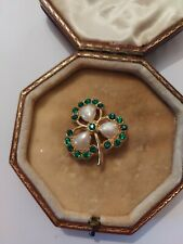 Vintage Art Deco Made In England Pearl Paste Glass Clover Brooch Pin