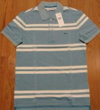 Mens Authentic Lacoste Striped Polo Shirt Loire Blue/Flour 3 Small $110