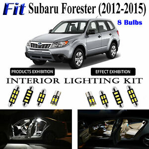 8pcs Xenon White LED Interior Light Package Kit For Subaru Forester 2012-2015