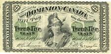 """Canada 25 Cents Dominion Currency Banknote 1870 """"B"""" Variety"""
