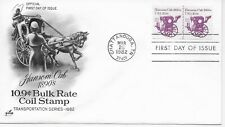 US Scott #1904, First Day Cover 3/26/82 Chattanooga Plate #1 PAIR Hansom Cab