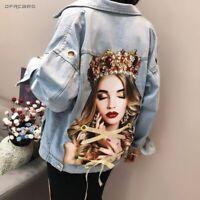 Spring Women Jeans Jacket With Eyelet 2020 Fashion Streetwear Denim Beading Coat