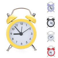 FP- Mini Round Metal Alarm Clock Desk Stand Clock for Home Kitchen Office New