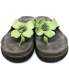 @ Mephisto Women's Sandals Sz 8 Eu38 Wedge Floral Green Leather Flats Thong EUC