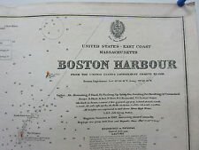 Antique British Admiralty Chart Map East Coast Mass Boston Harbour 1889-1919