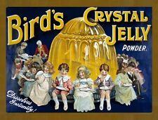 bird's CUSTARD CRYSTAL JELLY Antiguo Vintage Victoriana Cocina Grande Metal /