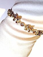 Vintage Garnet Bracelet 925 Sterling Silver Red Deco Design Genuine Stones