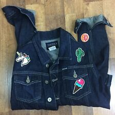 Nautica Women's Small patched Denim jean jacket Patches Unicorn