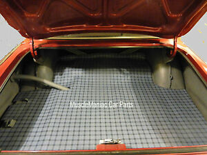 1963-1965 Plymouth Valiant 2/4 Door Hardtop RUBBER TRUNK MAT Grey Plaid 63 64 65