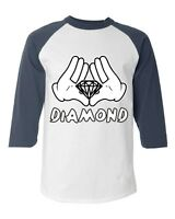 Diamond Cartoon Hands Baseball Raglan T-Shirt Illuminati Graphic Novelty Tees