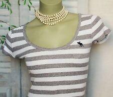 Grau Weiß Gestreift Maritim Abercrombie Stretch Long Top T Shirt XS S 32 34 36