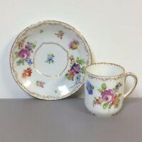 Antique 19th C Richard Klemm Dresden Porcelain Cabinet Demitasse Cup & Saucer