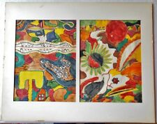 Original Pair of Water Color Abstracts Matted Unframed Signed