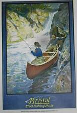 Bristol Steel Fishing Rods Lady Man Canoe ad Vintage poster art