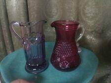 New ListingVintage Glassware Lot 2 Victorian Reproductions Art Glass Ewer Pitcher Purple
