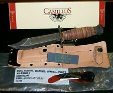 Camillus Fighting Survival Knife US Pilots Knives W/Box, Sheath,Sharpening Stone