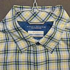 COLUMBIA BLUE-GREEN++ VENTED LIGHTWEIGHT NYLON SPORT SHIRT MINT COND SIZE S