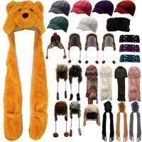 pour filles et femmes Bonnet tricot ours oreilles écharpe gant Ensemble strass