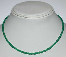 "Green Onyx 3-4mm Round Cut Beads 925 Sterling Silver 18"" Strand Necklace VR541"