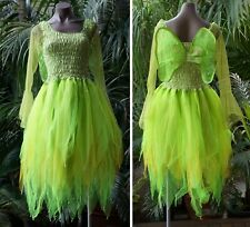 Women's Fairy Dress Costume with Sleeves & Wings - NEON & GOLD Tinkerbell