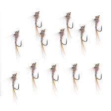 12 pcs / lot Laiton perle tête nymphe truite mouches de pêche naufrage
