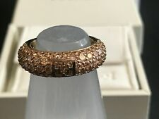ESCADA Gold Plated Sterling Silver Champagne CZ Logo Ring Size 7 $380 Authentic