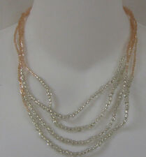 & Silver Beaded Necklace Plated New Avon Sea And Sky Multi-Strand Light Pink