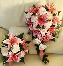 WEDDING BOUQUET PACKGE, REAL TOUCH LILY, ROSES, PEARLS