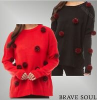 Ladies Brave Soul Comfortable Pom Pom Knit Jumper Sizes from 10 to 16
